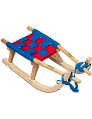Kathrein Rodel 25 Traineau en bois pour enfant Bleu/rouge