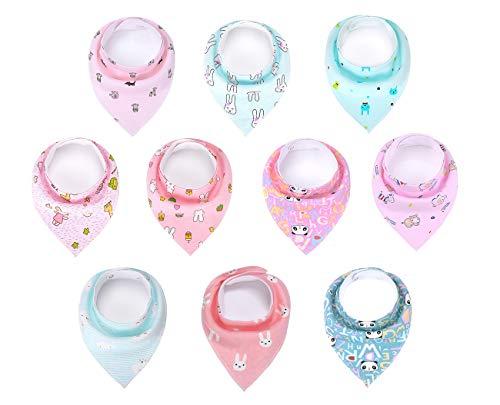 Baumwolle Baby Bandana Lätzchen, Sabber Lätzchen für Baby Jungen und Baby Mädchen 10 Stück - Baby Bandana-lätzchen Für