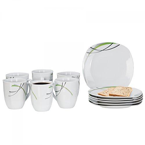 Frühstücksset Donna 12tlg. - 6 Teller á 19cm und 6 Becher á 33cl aus weißem Porzellan mit...