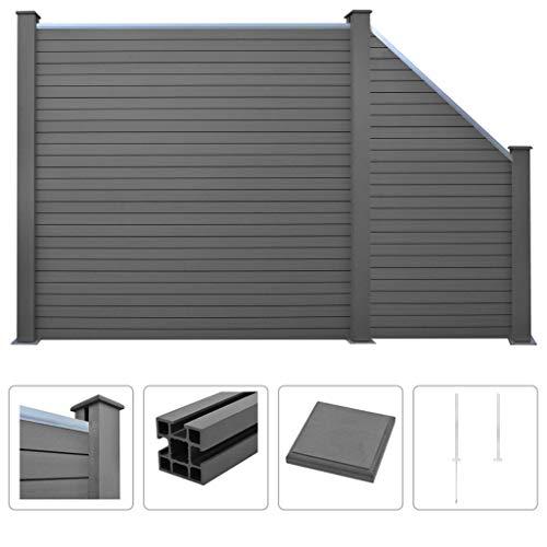 Festnight- WPC Sichtschutzzaun 277 x 187 cm Grau | Gartenzaun Windschutz Zaunpaneel Zaun Set mit 1 Quadrat und 1 Schräge