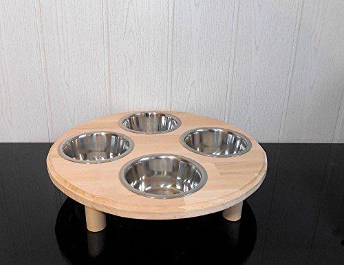 Welpenbar/ Welpennäpfe / Welpenfutter, tolle Futterbar mit 4 Edelstahlnäpfen mit je 750 ml. Handgefertigtes Hundezubehör und Tierbedarf. Lackierung mit Klarlack! Buche! (B3B)