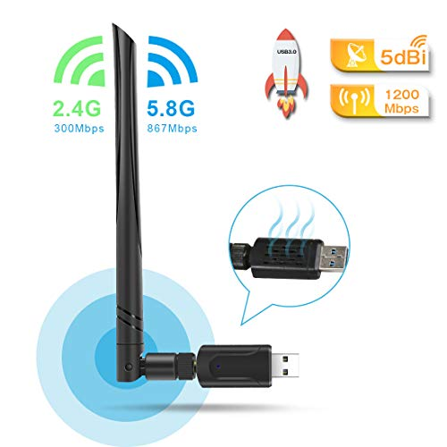 QianWei USB 3.0 WiFi Adapter,WLAN Stick 5dBi,Dualband WLAN Adapter 1200mbps (5.8G/867Mbps+2.4G/300Mps) USB WiFi für WindowsXP/Vista/Win7/Win8/Win10/Mac10.6-10.14