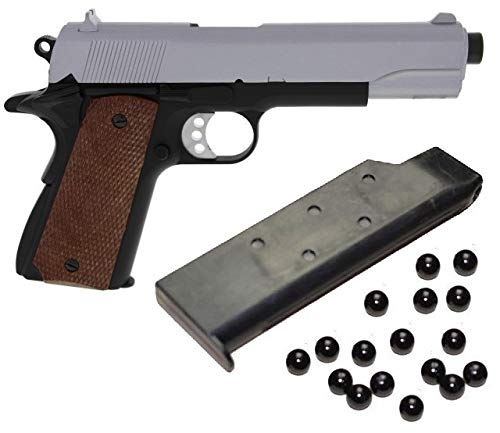 KOSxBO® schwere robuste Ausführung Airsoft Pistole - A2 Vollmetall Metallschlitten, Silber Cal. 6 mm BB + Softair Munition - Vollmetall Softair Markierer -