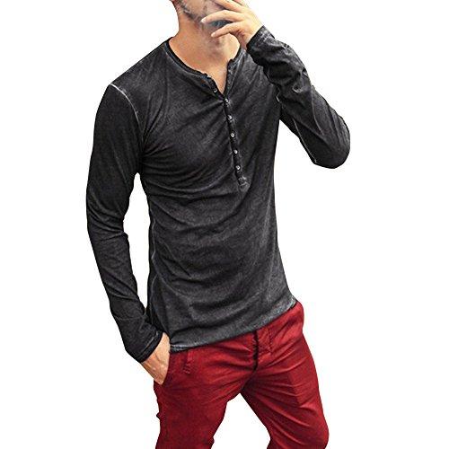 DNOQN Oversize T Shirt Herren Cashmere Pullover Slim Fit Bluse Herren Herbst Winter Beiläufig Stickerei Pullover Langarm T-Shirt Top Bluse M