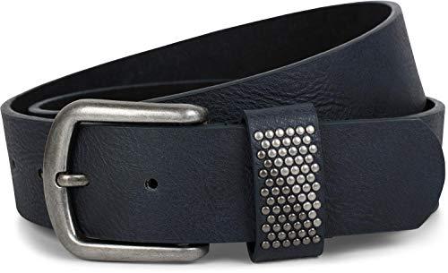 styleBREAKER Gürtel mit zweifarbigen Nieten an der Schlaufe, Nietengürtel, kürzbar, Unisex 03010088, Größe:95cm, Farbe:Dunkelblau