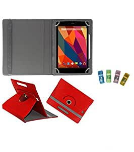 Gadget Decor (TM) PU Leather Rotating 360° Flip Case Cover With Stand For UNI 17.7cm + Free USB Card Reader - Red