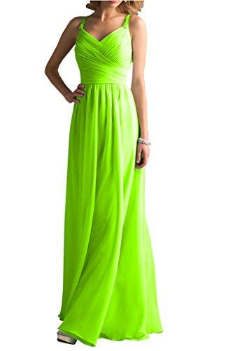 Gorgeous Bride Schlicht Traeger Empire Lang Chiffon Abendkleider Festkleid Ballkleid Grün