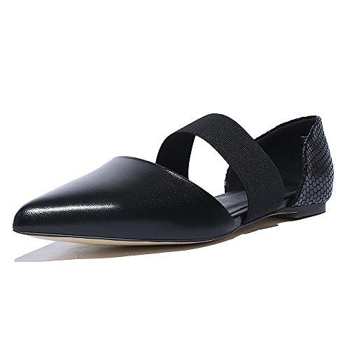 WSS chaussures à talon haut Baotou square sandales plates de la sandale élastique femme Black