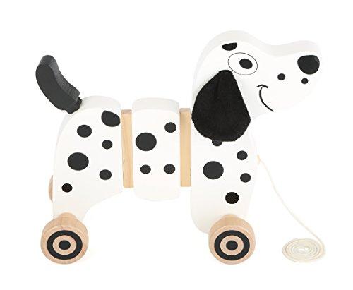 Small Foot 10641 Nachziehspielzeug aus Holz in Dalmatiner-Form, Flexible Verbindungselemente bei jeder Bewegung, wackelnde Ohren und Rute