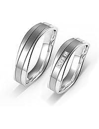 Verlobungs Ringe Ehe Ringe Herren Ringe Damen Ringe Edelstahl Ringe 7MM mit Geschenk-Boxen