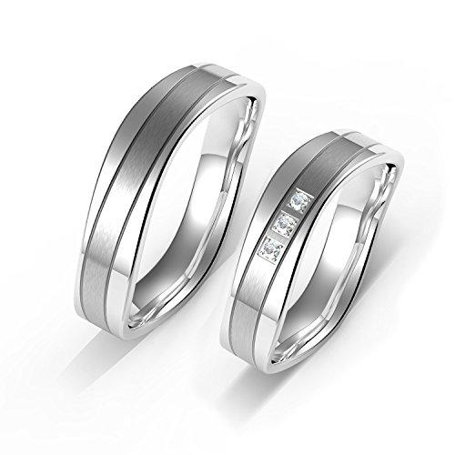 Verlobungs Ringe Ehe Ringe Herren Ringe Damen Ringe Edelstahl Ringe 7MM mit Geschenk-Boxen (Versprechen Ringe Für Sie Unter 100)