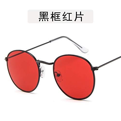 NSYJDSP Kleine Runde Frauen Sonnenbrille Männer Aviation Eye Sonnenbrille Metallrahmen Sonnenschutz für Frauen Top Selling schwarz rot