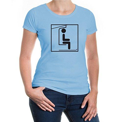 buXsbaum® Girlie T-Shirt Skilift-Piktogramm Skyblue-Black