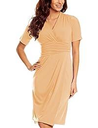 My Evening Dress- Robe Décontractée Manches Courtes pour Bureau et Travail en Jersey style Enveloppé