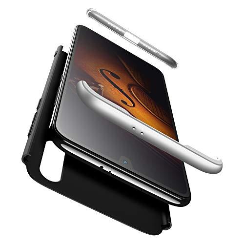 AChris XiaoMi Mi 9 SE Funda 360 Grados Integral PC Hard Carcasa Case Cover con Protector de Pantalla de Vidrio Templado Ultra-Delgado Antichoque Antideslizante Moda Funda- Negro Plata