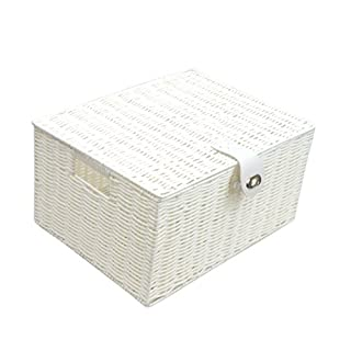 Arpan Large Resin Woven Storage Basket Box With Lid & Lock - White