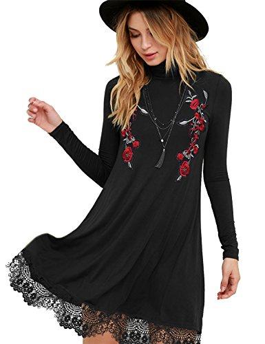 Blooming Jelly Damen Kleid Hoher Hals Bestickt Spitzensaum Casual A-linien Besticktes Stickerei Tshirt Midi Kleider (Kleid T-shirt Besticktes)