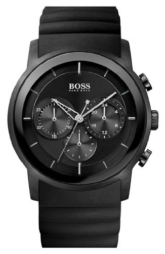 Hugo Boss Black Mens Black Rubber Chronograph Watch 1512639
