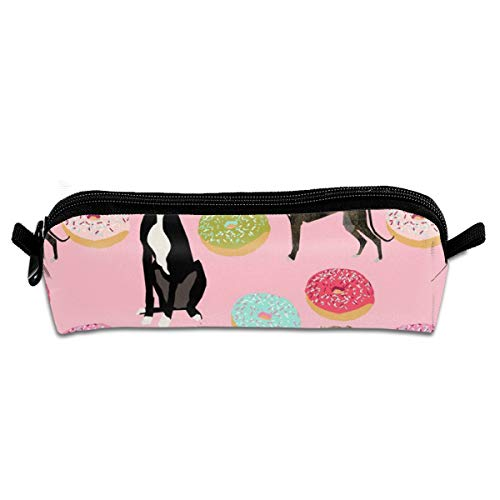 Pink Greyhound Donuts Cute Dog Design Rescue Dogs Student Polyester Double Zipper Pen Box Boys Girls Pencil Case Cosmetic Makeup Bag Pouch Stationery Office School Supplies 21 X 5.5 X 5 cm -