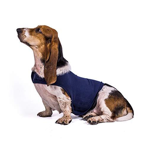 KEBY Chaqueta para Perro Chaleco calmante contra la ansiedad sobre la emoción Camisa Alivio para el estrés Mantenga la Calma Envuelva la Ropa Abrigo abrigado (S, Azul)
