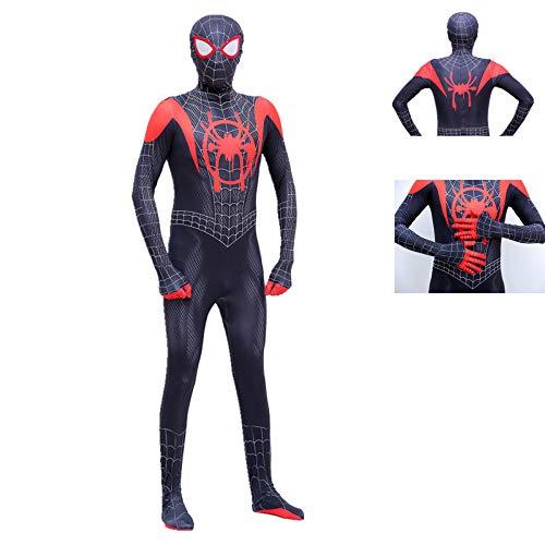 KOUYNHK Spiderman Miles Morales Maske Body Anzug Overall Zentai Schwarz Spiderman Super Heros Halloween Cosplay Kostüme Für Männer - Miles Morales Kostüm Kinder
