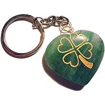 Con diseño de corazones con Piedra preciosa con diseño de hoja de trébol símbolo llavero (en alemán)