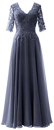MACloth Elegant Half Sleeves Mother of Bride Dress V Neck Evening Formal Gown Steel Blue