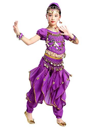 Grouptap Bollywood indische Kinder kuchipudi bharatanatyam Prinzessin Bauchtanz Violett 2-teilige Welle Hosen Kostüm Outfit Kinder Mädchen (Purple, 110-130 cm)