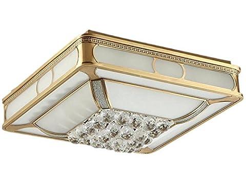XXFFH Lampe À Incandescence À Led Fluorescente Fyn Lampe De Plafond En Cuivre Pour Salon Chambre Cuisine 50 * 50Cm 48W Dimmable Rectangle Classe Énergétique A ++