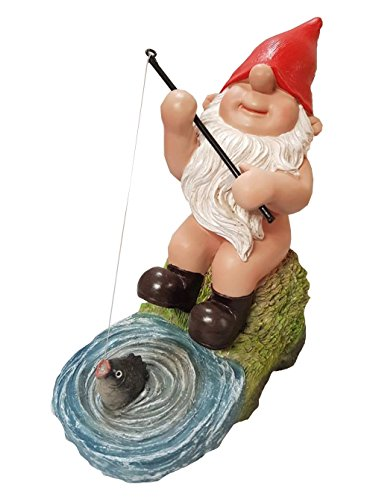 Vivid Arts Fishing Gnaughty Gnome (BG-PN72-F) Frost Resistant Garden Ornaments, Garden Decor