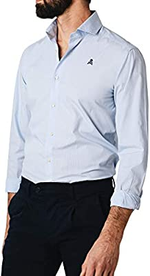 Scalpers Sport ELISEE Shirt II - Camisa para Hombre, Talla , Color Rayas Celeste y Blanco
