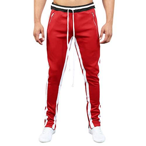 Sunnywill Pantaloni da Jogging Pantalone Shorts Jogging Pantaloni Bermuda Cerniera Lampo Sportivi Allentati Patchwork Casual da Uomo alla Moda Nero, Bianco, Rosso