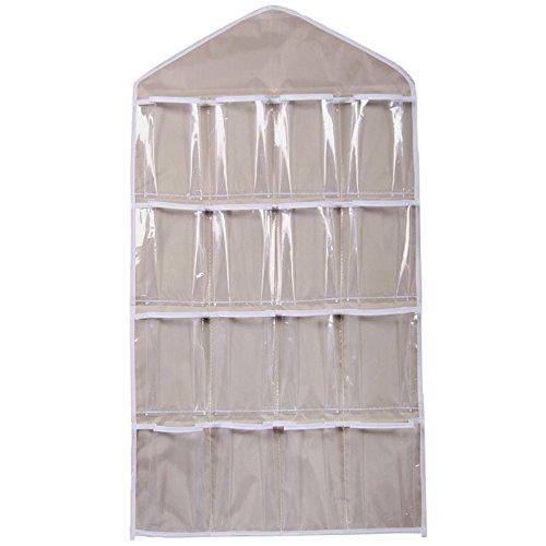 Hukz Transparente Aufbewahrungstasche mit 16 Gittern,Klar Hängende Tasche Socken BH Unterwäsche Rack Kleiderbügel Speicherorganisator (Beige)