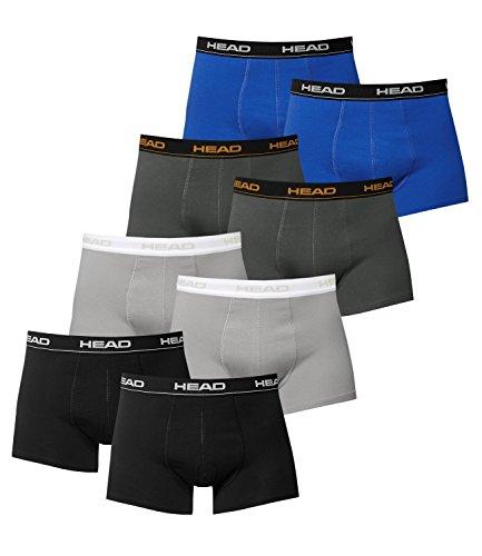HEAD Herren Boxershorts 841001001 8er Pack, Wäschegröße:L;Artikel:2x Schwarz / 2x Grey / 2x Dark Shadow / 2x Blue/Black
