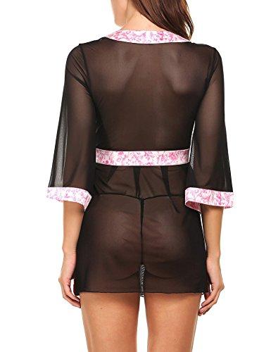 Avidlove Damen Semi-Transparente Spitze Halbarm Kimono A Schwarz-Rosa