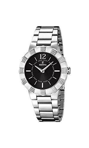 Festina Women's Quartz Watch with Black Dial Analogue Display and Silver Stainless Steel Bracelet F16730/2