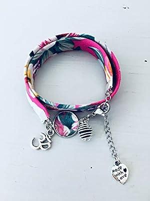 Bracelet à parfumer en tissu Liberty fleuri rose, bracelet porte bonheur, bijou Liberty, bracelet fleur, cadeau femme