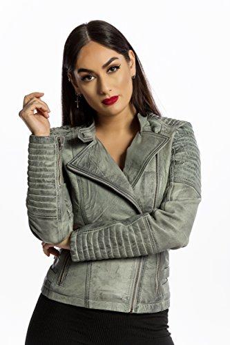 Urban Leather Fashion Lederjacke - Sylvia, light grey, Größe 46, 3XL