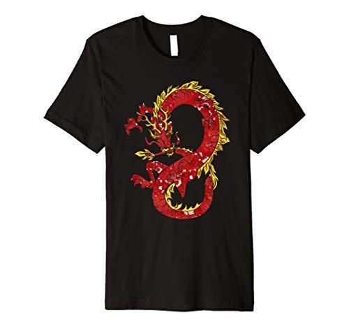 Asiatische Japanische Chinesischer Drache in rot und gold T-Shirt ()