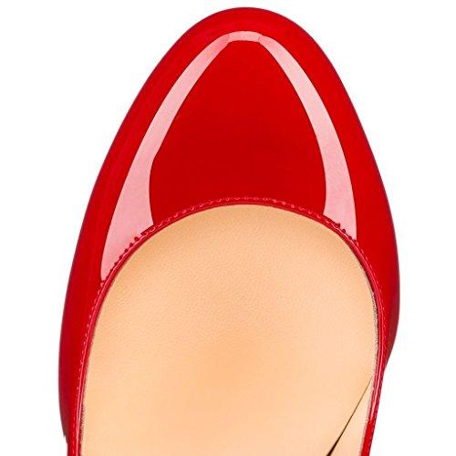 uBeauty Escarpins Femmes Chaussures Stiletto Bout Rond Talon Aiguille Grande Taille Rouge