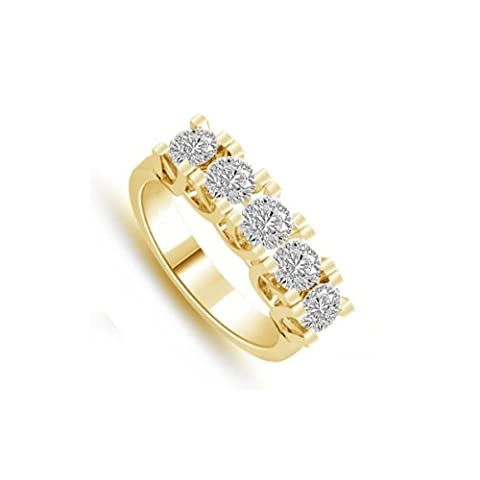 0.80ct G/VS1 Diamond Half Eternity Ring for Women with Round Brilliant cut diamonds in 18ct Yellow