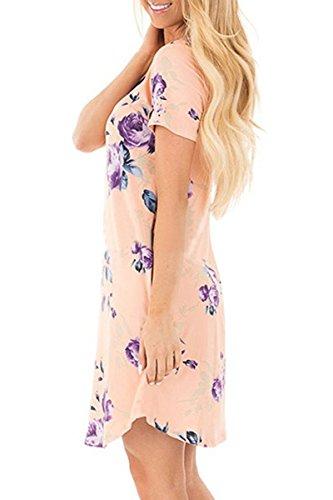 YMING Damen Blusenkeid Lose Tunika Kleid Kurzarm Casual Blumen T-Shirt Kleid,XS-XXL(32-46) Rosa