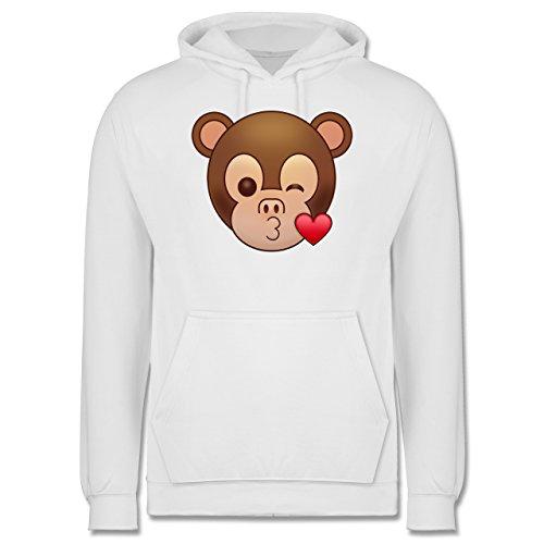 Comic Shirts - Küsschen Äffchen Emoji - Männer Premium Kapuzenpullover / Hoodie Weiß