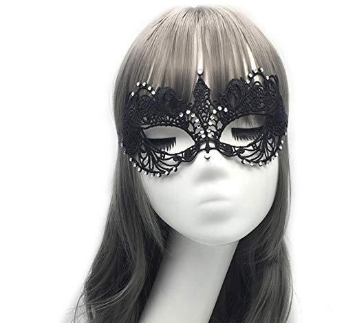 Größe Mardi Plus Kostüm Gra - HYXGG Party Lace Maske Halloween mit halbem Gesicht Plus Diamond Sexy Silver Masquerade Mask - Schwarz
