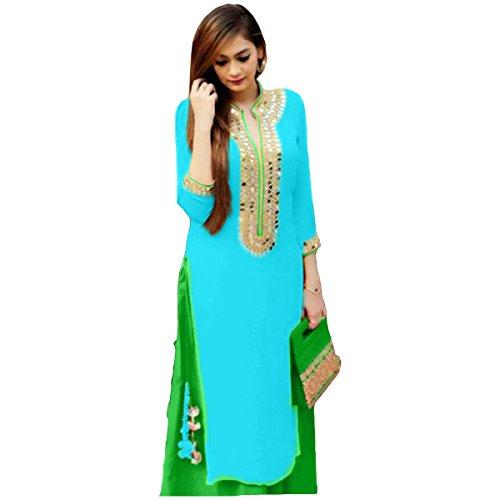 STARK FASHION Women's Ethnic Wear Pure Cotton Unstitched Regular Wear Salwar Suits Dress Material (SB_DM _5099_RAMA&GREEN_Free Size)