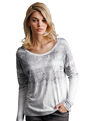 Damen Shirt mit überschnittener Schulter by Betty & Co Grau Gemustert