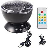 Nyrwana Multicolor Ocean Wave Projector Night Light Lamp With Built-in Music Player and Remote Control In Bedroom Living Room For Nursery Baby Kids Children Adults
