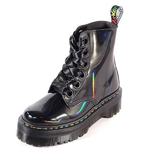 Dr. Martens Women's Quad Retro Molly Platform Lace Up Boot Black Rainbow Size ()