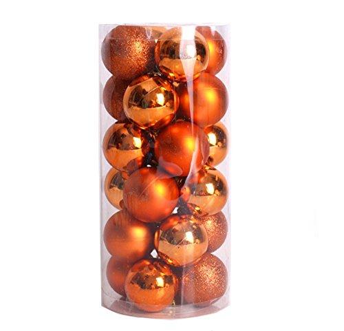 Hunpta 6 cm 24PC Plastik-Weihnachtsbaum Dekoration Weihnachtskugel (Orange A 6CM)