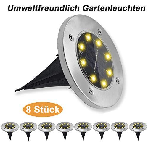Pulchram Solarleuchten für Garten & Außenbereich(8 stück in einer Packung), wasserdicht Solarlampen Bodenleuchte mit warmweiß Licht, umweltfreundlich Gartenleuchten mit 8Leds für Rasen